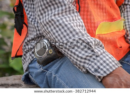technician with tool belt around waist #382712944
