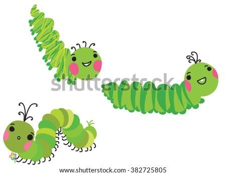 Cute crawling caterpillars set. Cartoon green caterpillars isolated on white. vector illustration.