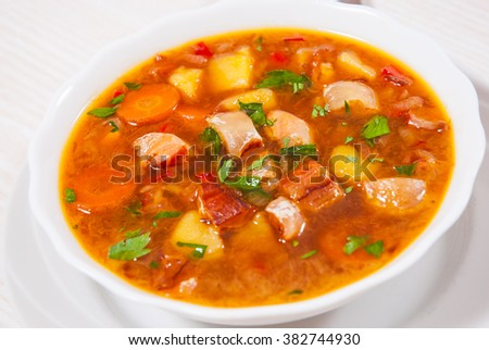 Fish soup with vegetables #382744930
