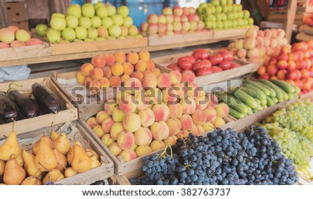 Fruits and vegetables at a farmers market #382763737