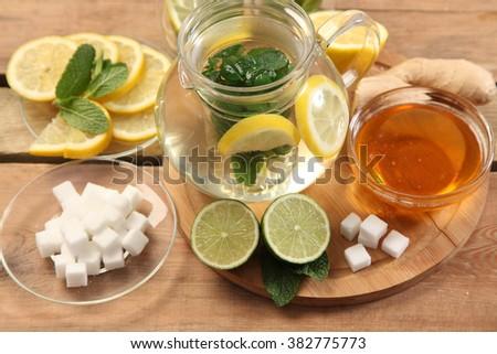 Mint tea with honey and lemon #382775773
