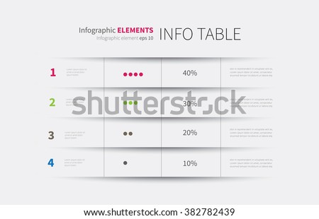 modern infographics template, options, steps, rows, column, graph / infographics table background Royalty-Free Stock Photo #382782439