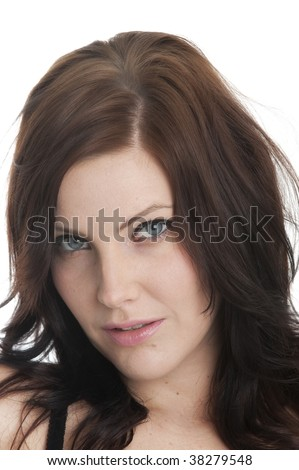 Beautiful Caucasian woman in closeup tilting her head seductively #38279548