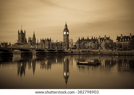 Vintage picture of London Big Ben and House of Parliament viewed at sunrise in London. England