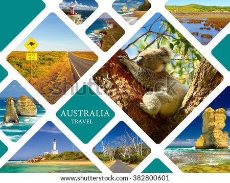 Australia. Travel concept. Photo collage Australia. Great Ocean Road and 12 Apostles