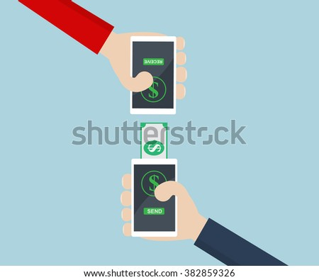 Money Transfer,Moblie Banking on Smart Phone Concept #382859326