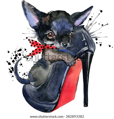 Cute Dog watercolor illustration for fashion print, poster for textiles, fashion design T-shirt graphics. Toy Terrier