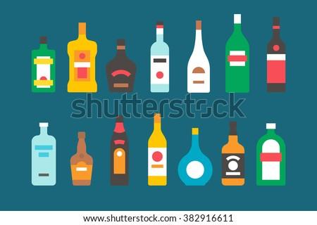 Flat design alcohol bottles collection illustration vector #382916611