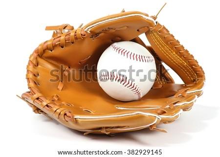 baseball equipment on white background Royalty-Free Stock Photo #382929145