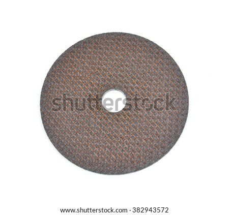 Close up 4 inch metal cutting wheel isolated on white #382943572