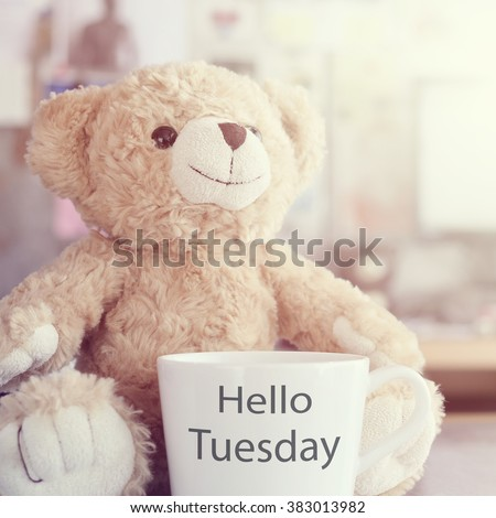 Hello Tuesday coffee cup,focused on toy bear face in Blurred background with vintage filter