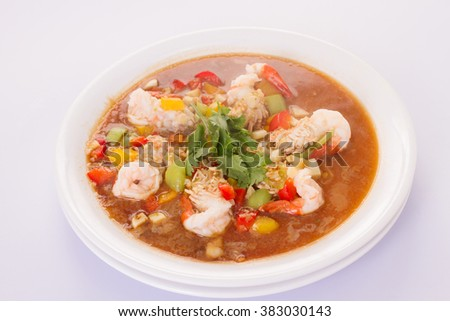 thai food or thai cuisine ,Shrimp in sauce on a white plate #383030143