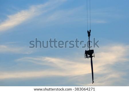 tower crane carry concrete bucket, 1.5 Cubic metre #383064271