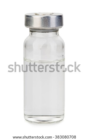 Glass vial medical close-up isolated on a white background. #383080708