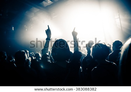 Fans with raised hands at the concert #383088382