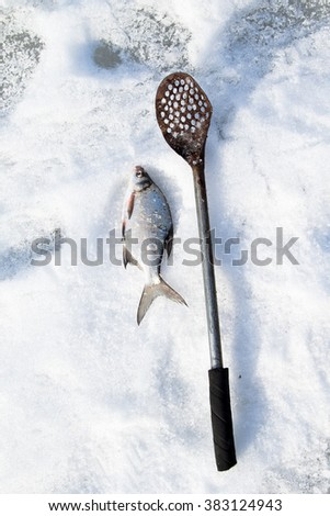 Winter fishing, fish on ice #383124943