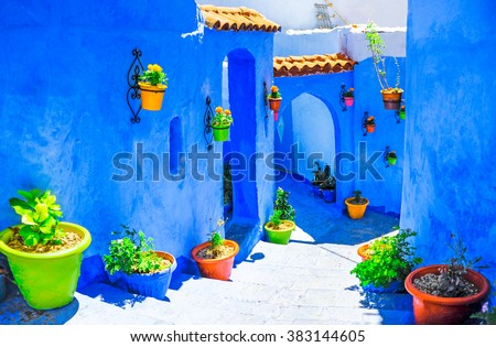 Beautiful blue medina of Chefchaouen city in Morocco, North Afri Royalty-Free Stock Photo #383144605