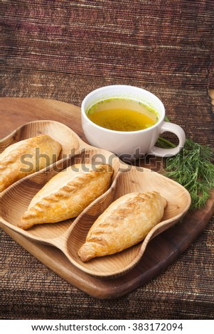 Kibinai (kybyn,kybynlar,chiburekki,shishlik) are traditional pastries filled with mutton and onion, popular with Karaite ethnic minority in Lithuania. Kibinai usually served with chicken broth. #383172094