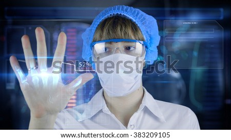 Female octor with futuristic hud screen tablet.Human body scan. Medical concept of the future. #383209105