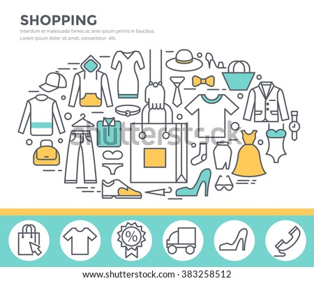 Clothes shopping concept illustration, thin line flat design #383258512