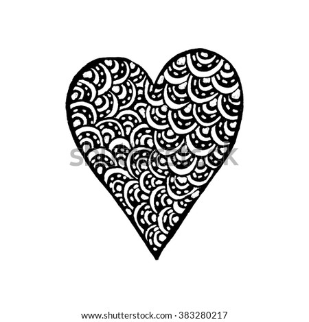 Zentangle hand drawn vector heart. Black and white sketched element. Adult coloring book vector template. #383280217