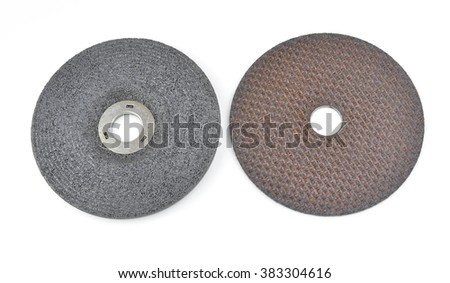 Close up 4 inch grinding wheel isolated on white #383304616