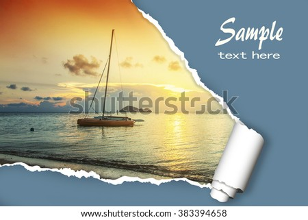 layout for advertising of tourist business. Sailing boat at sunset, with the effect of torn paper and space for text #383394658