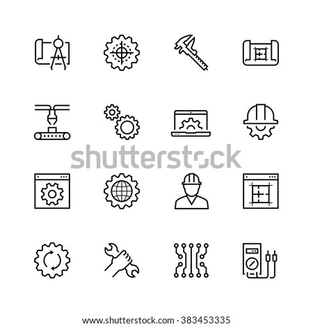 Engineering and manufacturing vector icon set in thin line style Royalty-Free Stock Photo #383453335