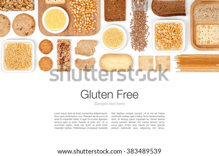 various gluten free grains and food on white background with copy space top view #383489539