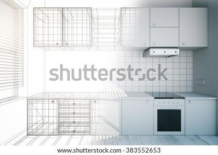 Design of new white kitchen interior with blueprint, 3D Render