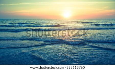 Panorama of beautiful sunset on the ocean. #383613760