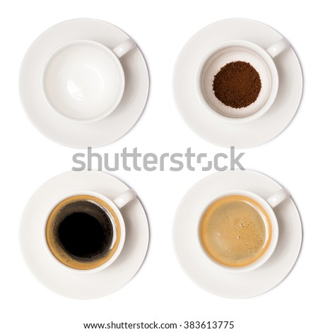 coffee cup assortment top view collection isolated on white background. with clipping paths. #383613775