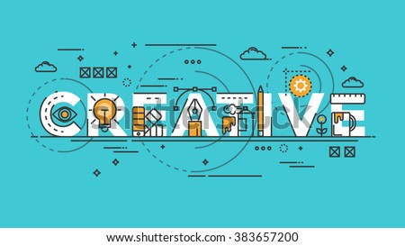 Flat Style, Thin Line Banner design of Creative, Idea, Colors, Drawing, vision, etc. Modern concept. Vector Illustartion Royalty-Free Stock Photo #383657200