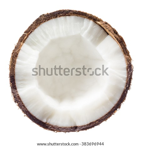 Coconut. Half isolated on white background. Top view. #383696944