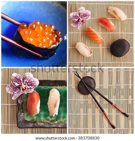 Sushi plates collage #383708830