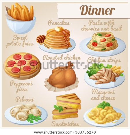 Set of food icons. Dinner. Sweet potato fries, pancakes, pasta with tomato cherries and basil, pepperoni pizza, roasted chicken, chicken strips, pelmeni, sandwiches, macaroni and cheese #383756278