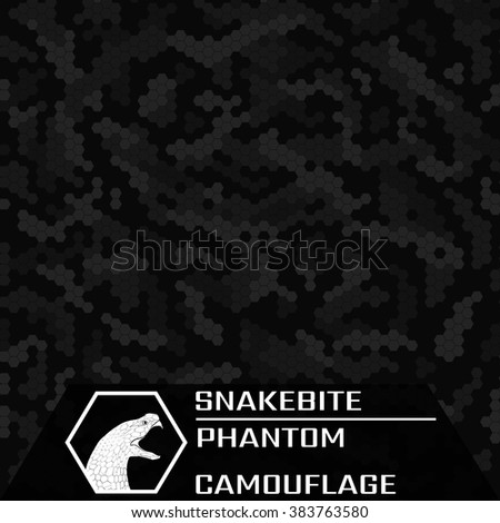 Snakebite. Phantom. Texture of black camouflage. Seamless Pattern.