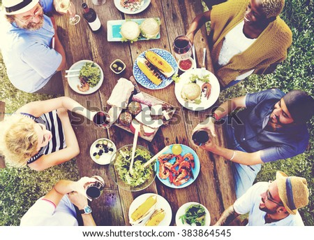 Friends Friendship Outdoor Dining People Concept #383864545