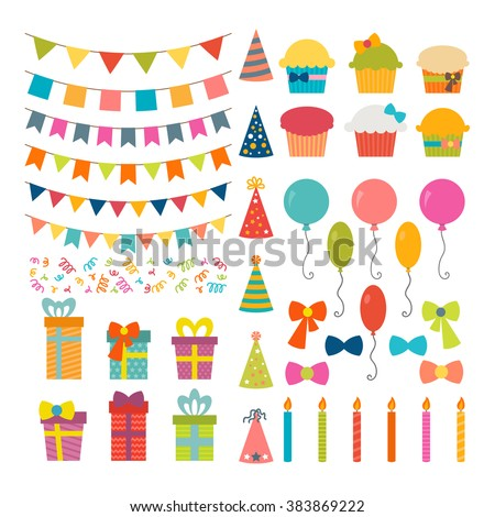 Set of birthday party design elements. Colorful balloons, flags, confetti, cupcakes, gifts, candles, bows and decorative ribbons. Vector illustration Royalty-Free Stock Photo #383869222
