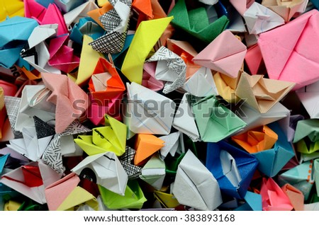 Top view of Origami boats background  #383893168