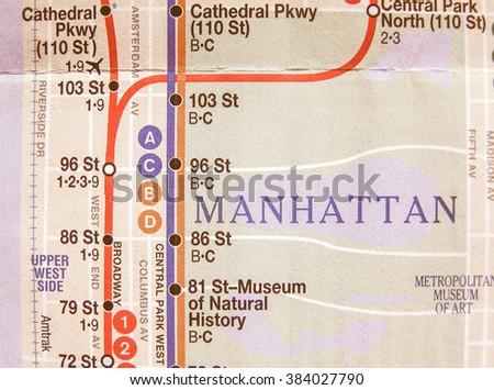 NEW YORK, USA - JUNE 25, 2008: Subway map of the New York underground lines, vintage #384027790
