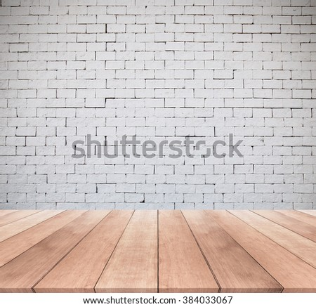 white brick wall and wooden floor texture background #384033067