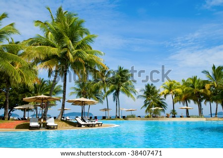 Morning in tropical hotel, with palm tree and swimming pool #38407471