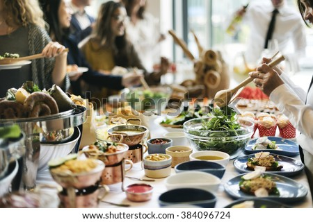 Food Buffet Catering Dining Eating Party Sharing Concept Royalty-Free Stock Photo #384096724