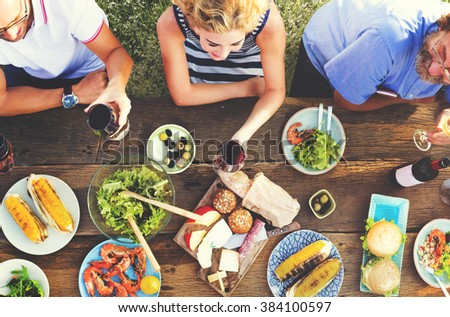 Friends Friendship Outdoor Dining People Concept #384100597