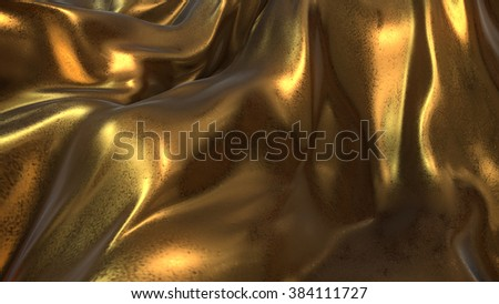 Gold Cloth flying -3D Illustrate