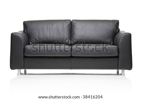 Image of a modern black leather sofa over white background #38416204