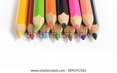 Colour pencils isolated on white background #384191362