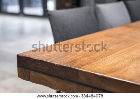 Close-up of a luxurious table corner , vintage solid wood furniture detail #384484078