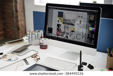 Design Studio Creativity Ideas Wood Palette Decoration Concept Royalty-Free Stock Photo #384490126